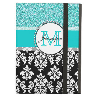 Girly, Teal, Glitter Black Damask Personalized Case For iPad Air
