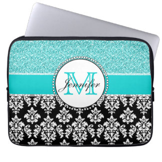Girly, Teal, Glitter Black Damask Personalized Laptop Sleeve