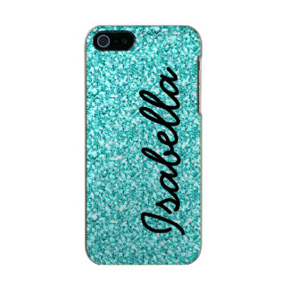 GIRLY TEAL GLITTER PRINTED PERSONALIZED INCIPIO FEATHER® SHINE iPhone 5 CASE
