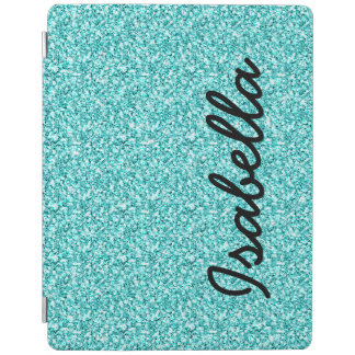 GIRLY TEAL GLITTER PRINTED PERSONALIZED iPad SMART COVER