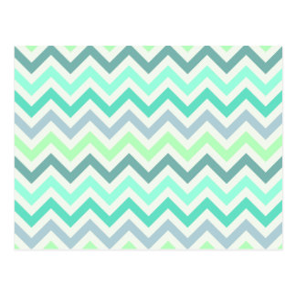 Girly Teal Mint Green Chevron Aztec Pastel Colors Postcard