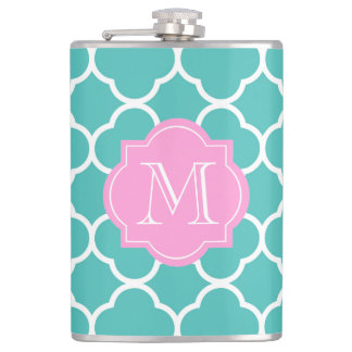Girly Teal Quatrefoil Custom Pink Monogram Flask