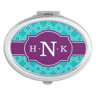 Girly Teal Quatrefoil Pattern Purple Monogram Vanity Mirror