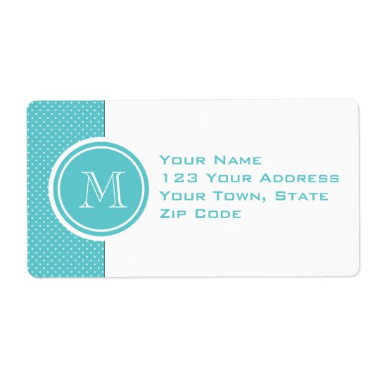 Girly Teal White Polka Dots, Your Monogram Initial