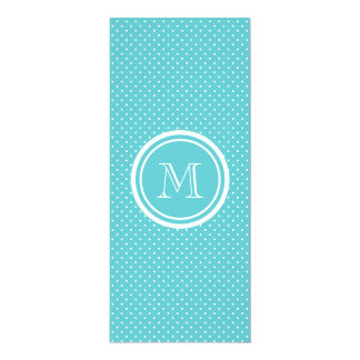 Girly Teal White Polka Dots, Your Monogram Initial 10 Cm X 24 Cm Invitation Card