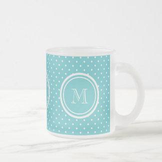 Girly Teal White Polka Dots, Your Monogram Initial Mugs