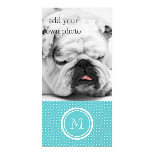 Girly Teal White Polka Dots, Your Monogram Initial Photo Greeting Card