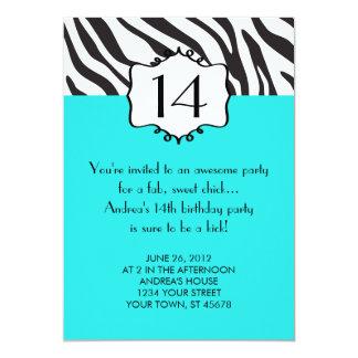 "Girly Teenager Zebra Birthday Invitation 5"" X 7"" Invitation Card"