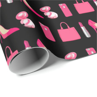Girly things black wrapping paper