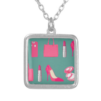 Girly things design square pendant necklace