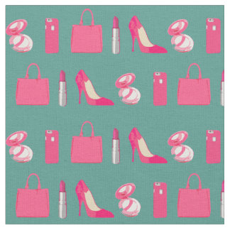 Girly things teal fabric