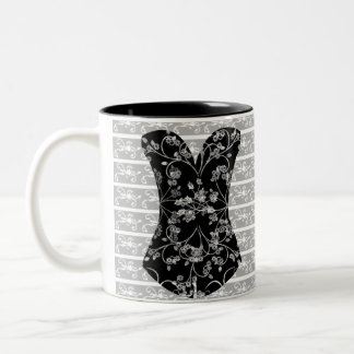 Girly Time Corset Black lace 11 oz Two-Tone Mug