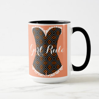 Girly Time Corset Geometric Black 15 oz Ringer Mug