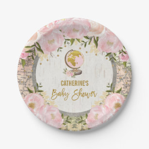 Girly Travel Map / Pink Gold Floral Baby Shower Paper Plate