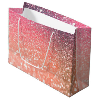 Girly Trend Rose Gold Blush Glitter Large Gift Bag