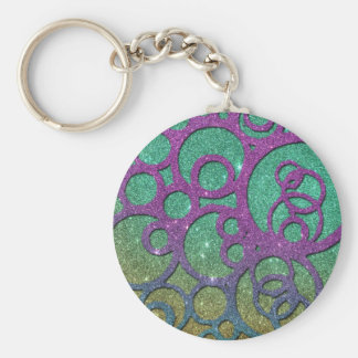 Girly Trendy Faux Glitter Circles Keychains