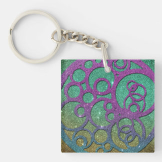 Girly Trendy Faux Glitter Circles Single-Sided Square Acrylic Key Ring