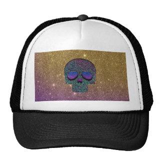 Girly Trendy Faux Glitter Skull Mesh Hat
