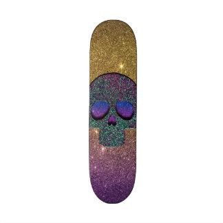 Girly Trendy Faux Glitter Skull Skateboard
