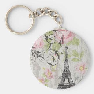 Girly trendy flowers Eiffel Tower vintage Paris Key Chain