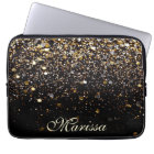 Girly Trendy Gold Glitter Modern Black Sleeve