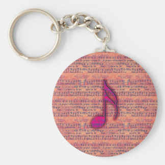 Girly Trendy Musical Note on Sheet Music Basic Round Button Key Ring