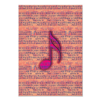 "Girly Trendy Musical Note on Sheet Music 3.5"" X 5"" Invitation Card"