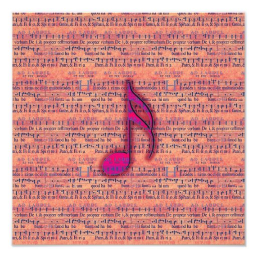 Girly Trendy Musical Note on Sheet Music Art Photo