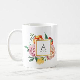 Girly TRENDY Watercolor Peony Flowers Monogram Coffee Mug