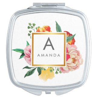 Girly TRENDY Watercolor Peony Flowers Monogram Compact Mirrors