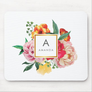 Girly TRENDY Watercolor Peony Flowers Monogram Mouse Pad