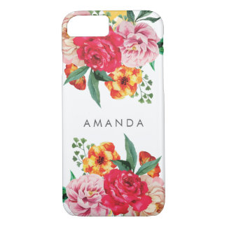Girly TRENDY Watercolor Peony Flowers  your name iPhone 8/7 Case