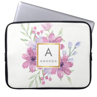 Girly TRENDY Watercolor PINK Peony Flower Monogram Laptop Sleeve