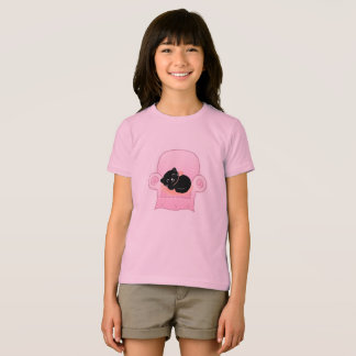 Girly tshirt with Black cat