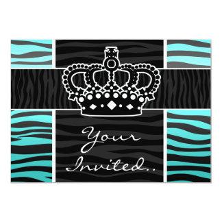 Girly turquoise and black zebra print crown 13 cm x 18 cm invitation card