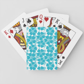 Girly Turquoise Tropical Hibiscus Pattern Playing Cards