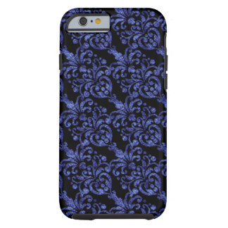 Girly Victorian Blue Glittery Damask Pattern Tough iPhone 6 Case