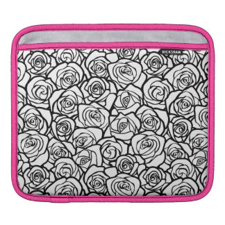 Girly Vintage black and white roses Sleeves For iPads