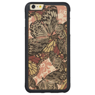 Girly Vintage Butterflies Floral Pattern Carved® Maple iPhone 6 Plus Bumper Case