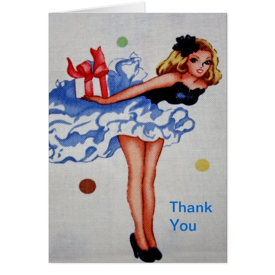 Girly Vintage Fabric Thank You Card