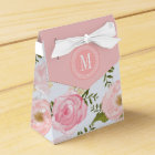 Girly Vintage Floral Pink Roses Peony Personalised Favour Box