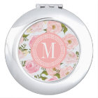 Girly Vintage Floral Pink Roses Peony Personalised Mirror For Makeup