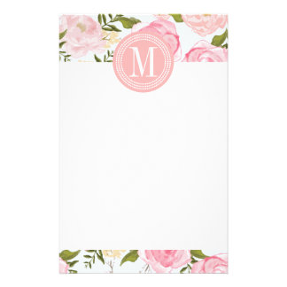 Girly Vintage Floral Pink Roses Peony Personalized Stationery