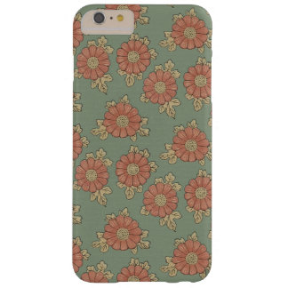 Girly Vintage Japanese Green and Coral Floral Barely There iPhone 6 Plus Case