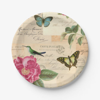 Girly vintage paper plates w/ birds & butterflies 7 inch paper plate