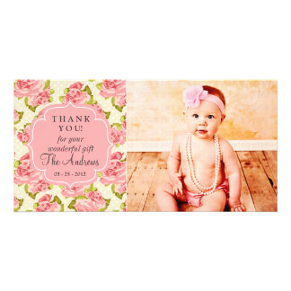 Girly Vintage Pink Roses Any Occasion Thank You Photo Card Template