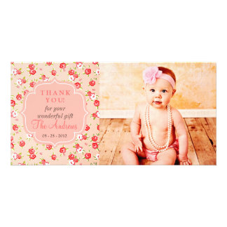 Girly Vintage Pink Roses Any Occasion Thank You Photo Cards