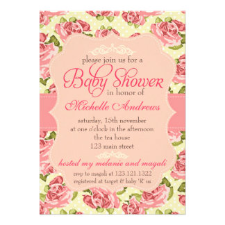 Girly Vintage Pink Roses Baby Shower Announcement