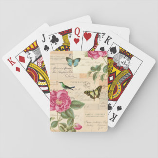 Girly vintage playing cards w/ rose & butterflies