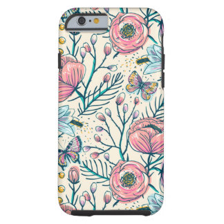 Girly Vintage Rose Garden Flower Pattern Tough iPhone 6 Case
